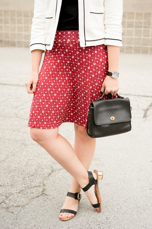 red patterned loft skirt + black target tee + white blazer Ann Taylor + black heeled sandals; summer work outfit | Style On Target blog