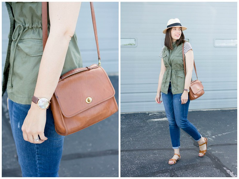 green vest + stripe tee + straw hat + boyfriend jeans, summer casual outfit | Style On Target