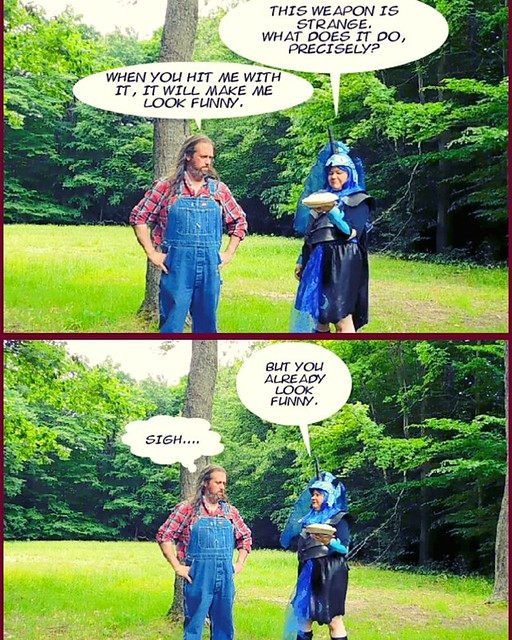 Everybody's a comedian. #pieintheface #overalls #Dickies #vintage #bluedenim #plaid #cosplay #mylittlepony #nightmaremoon