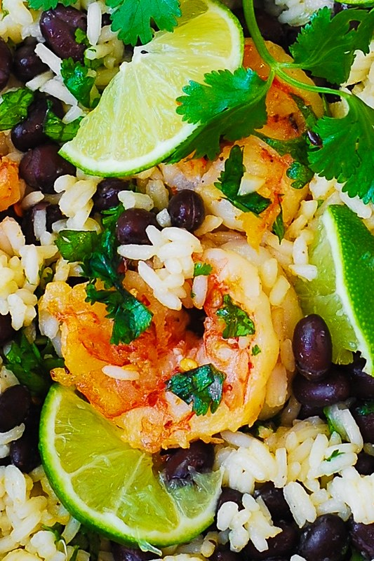 shrimp and rice, cilantro lime rice, black bean rice, healthy recipes, healthy dinners