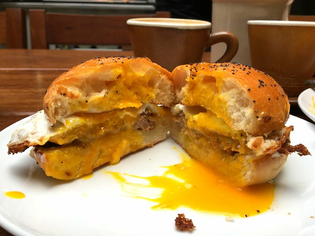 Breakfast Sandwich fried egg, pork belly sausage, american cheese