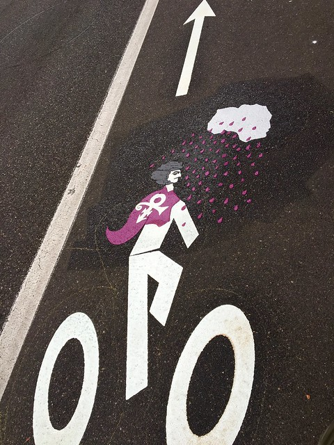 Prince bike lane symbol by PBOT