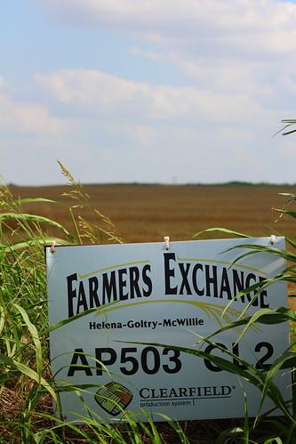 Farmer's Exchange sign.