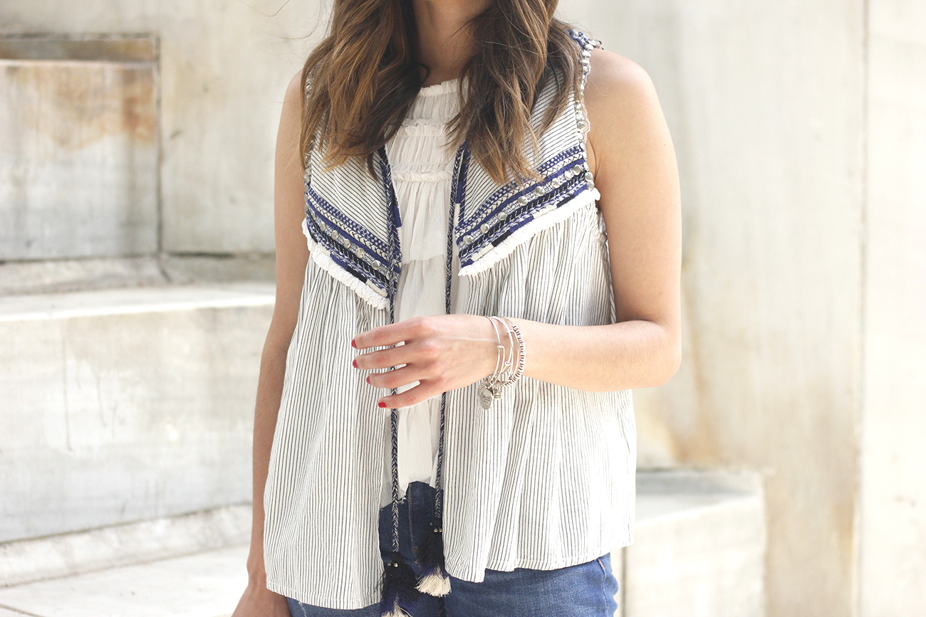boho vest jeans heels blue hat alex and ani bohemian outfit22