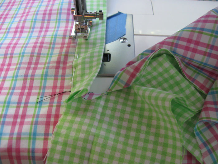 sewing one side of placket