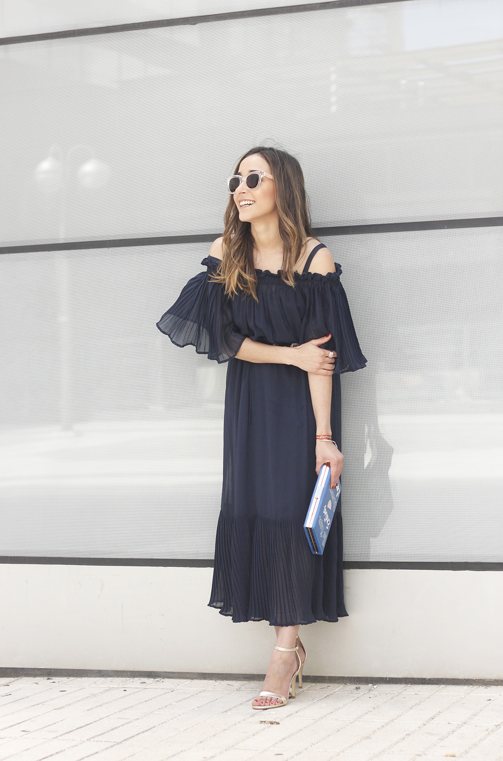 A Midi Dress With Pleated Ruffles heels clutch accessories sunnies fashion outfit summer09