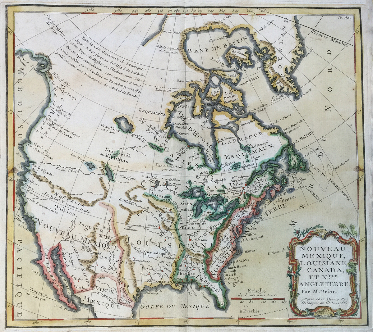 Map: 1766 Desnos' Nouveau Mexique, Louisiane, Canada, et Nouvelle Angleterre.