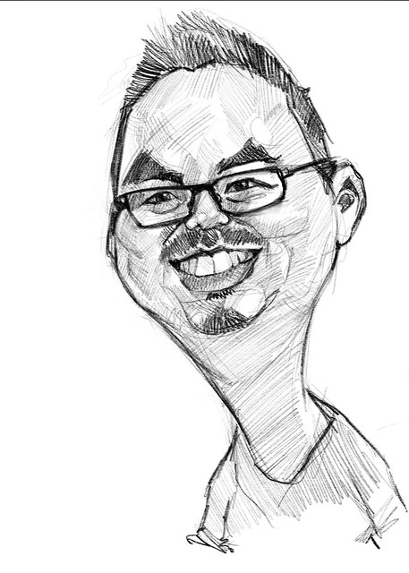 Digital caricature of Simon Leung on iPad Pro