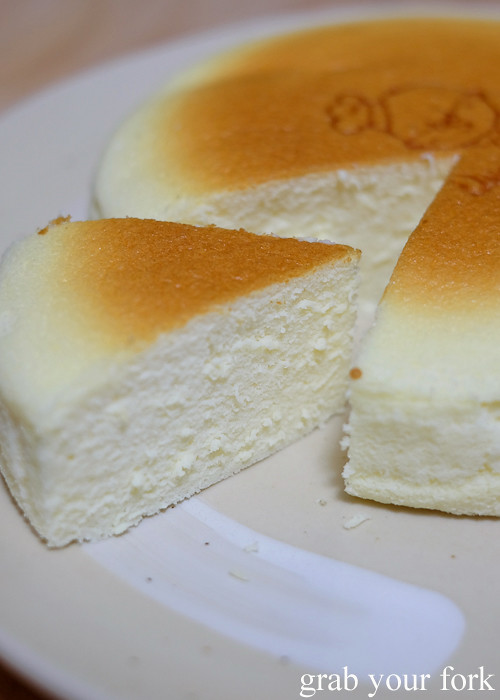 Cotton cheesecake texture inside Uncle Tetsu's cheesecake from Regent Place Sydney