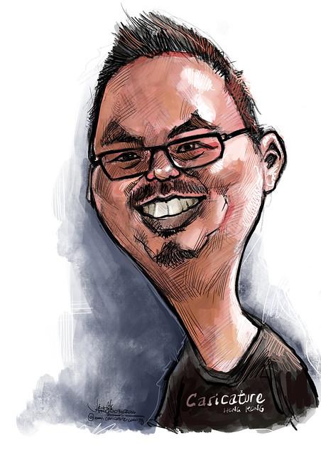 Digital caricature of Simon Leung on iPad Pro