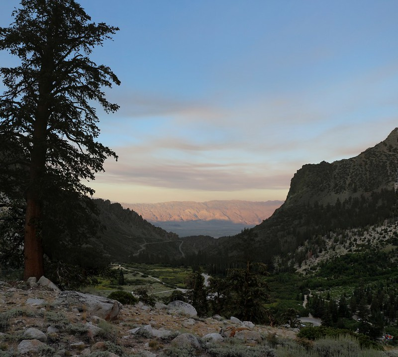 The sunset shadow of the Sierra climbs up the White Mountain Range as we hike up the Kearsarge Pass Trail