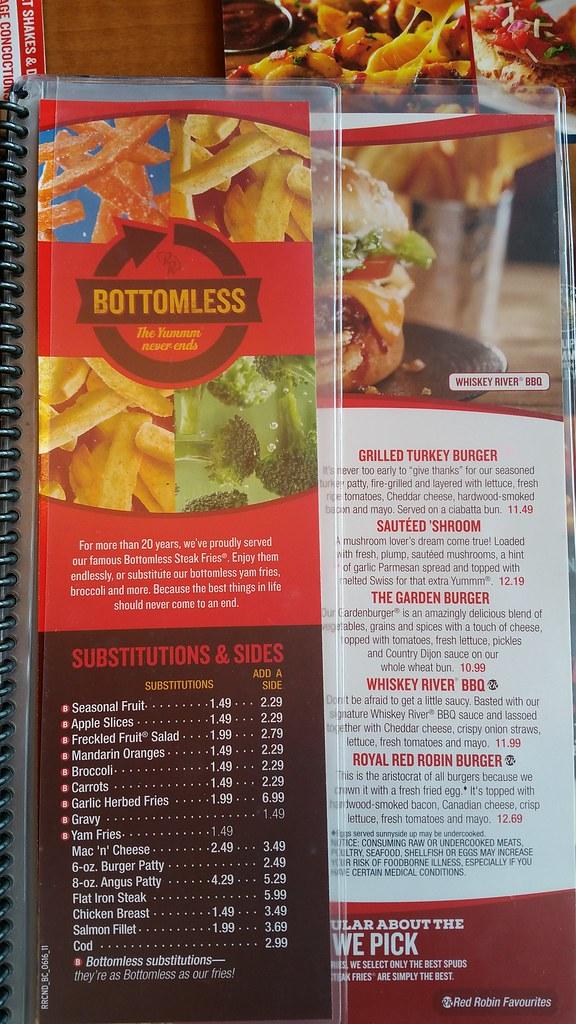 2016-Jul-27 Red Robin unlimited sides menu
