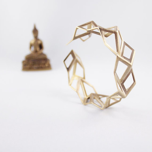 FoldIT Creations Geometric Brass Tessellation Bracelet