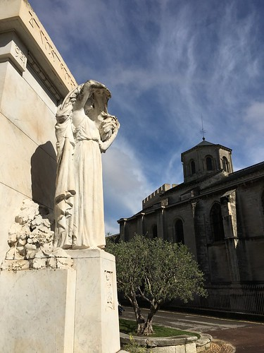 Statue and church in Avignon