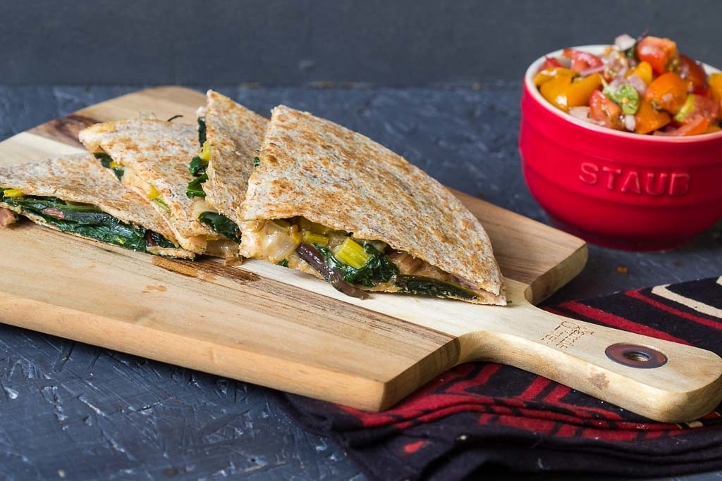Mangold Quesadilla via lunchforone