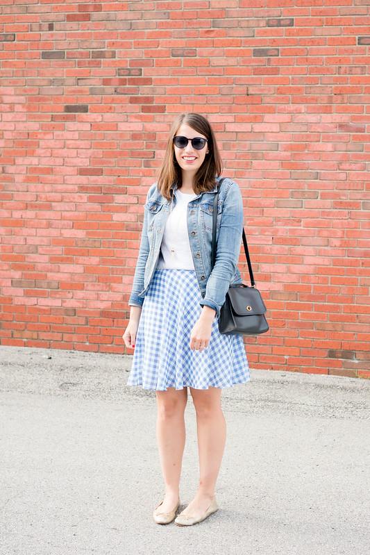 gingham skirt + white tee + denim jacket + navy purse Style On Target blog