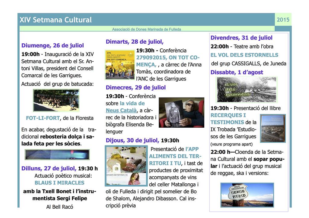 Programa de la Setmana Cultural de Fulleda 2015