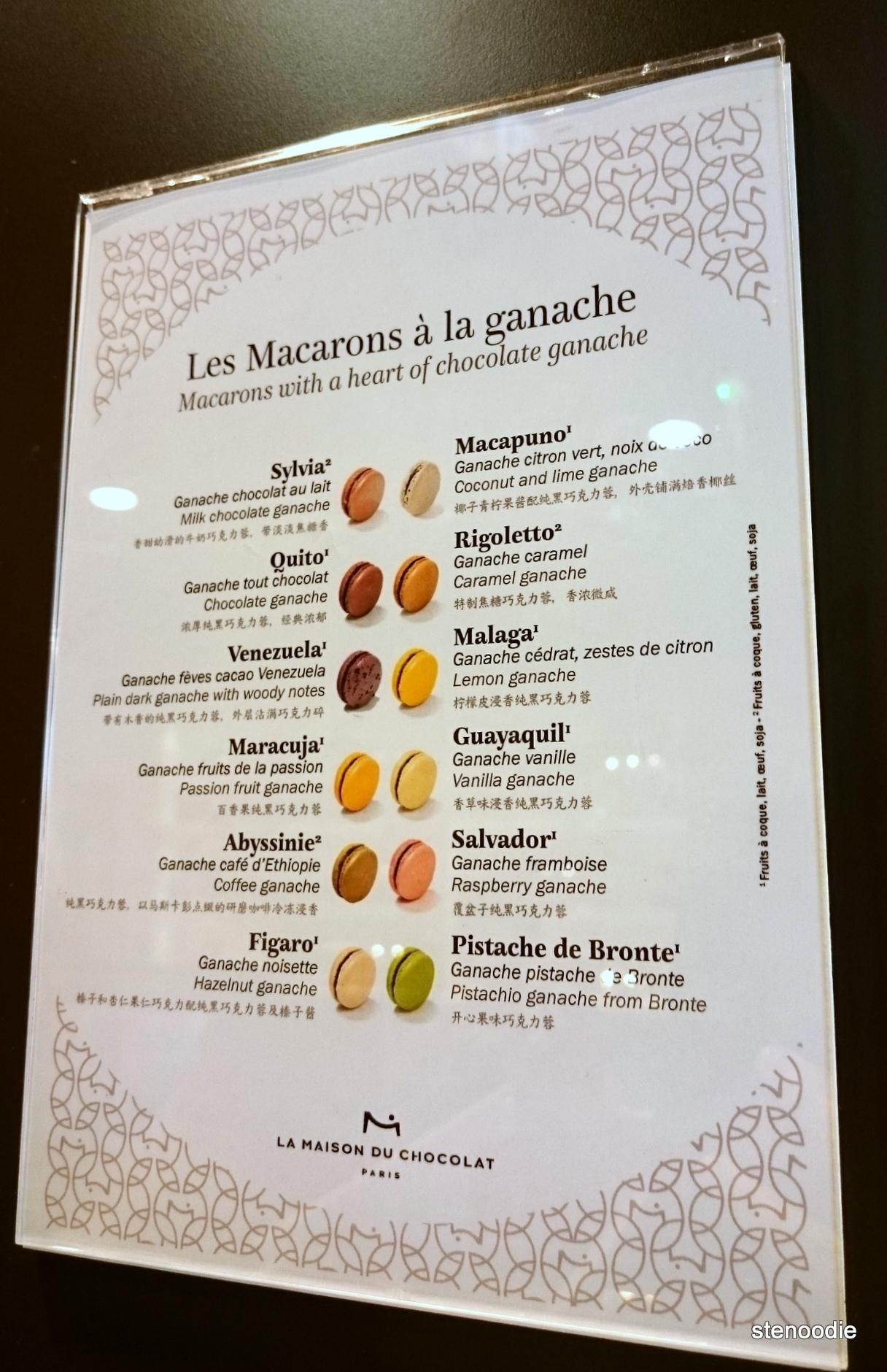 La Maison du Chocolat chocolate flavours