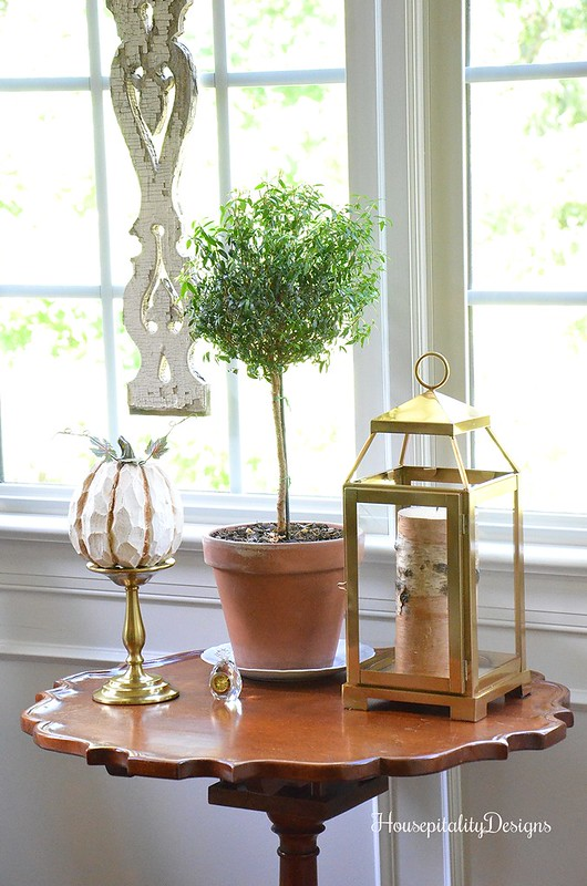 Vintage PIe Crust Table - Pottery Barn Brass Lantern - Myrtle Topiary - Housepitality Designs