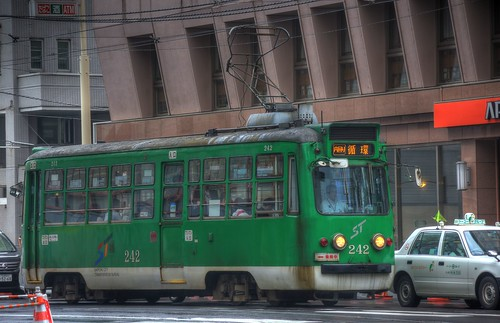 Tramcars at Sapporo in early morning on JUL 20, 2016 (3)