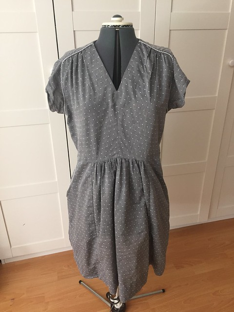 Gray Dotted Swiss dress
