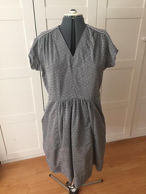 Gray Dotted Swiss dress