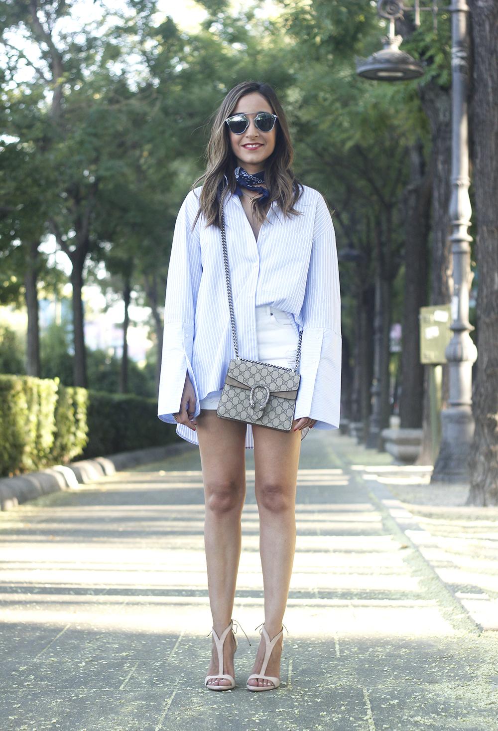 boyfriend striped shirt gucci bag so real dior sunnies denim shorts summer outfit01
