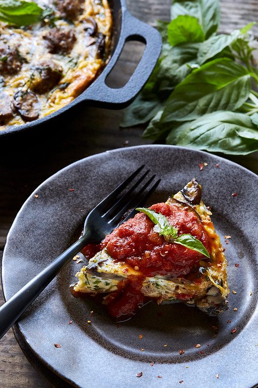 Zucchini Noodle and Meatball Frittata