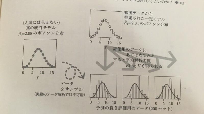 真のモデル(β1=2.08)から50個データを作る。一定モデルのβ1が2.04となったとする