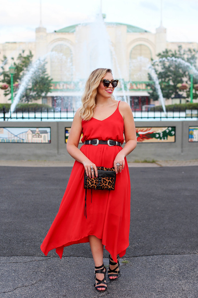 Lulu's Red Mini Dress ASOS Double Buckle Western Belt Black Strappy Sandals Summer Edgy Style Playland Rye Westchester New York Living After Midnite Jackie Giardina Blogger