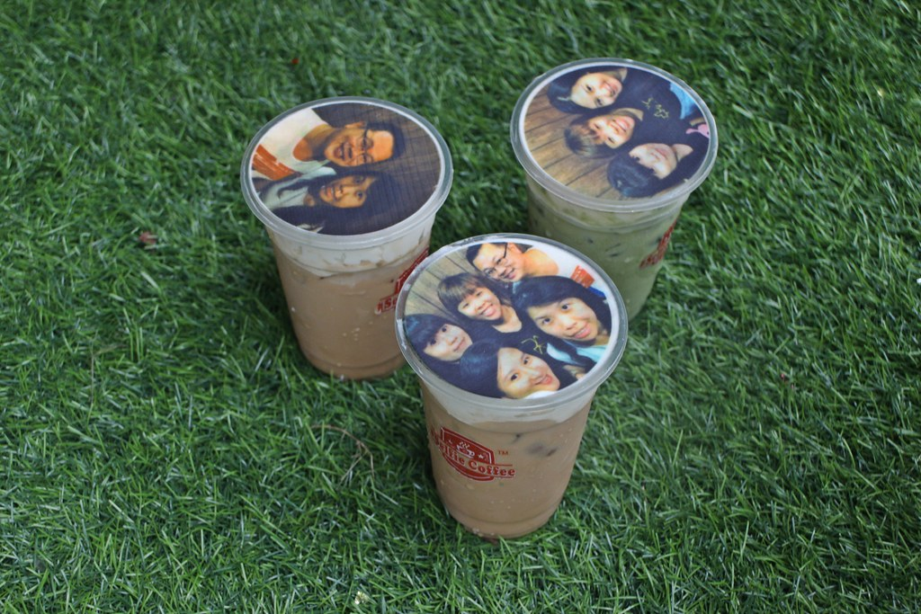 Selfie Coffee around Taman Sutera: Our selfies are printed on the cover of the drinks.