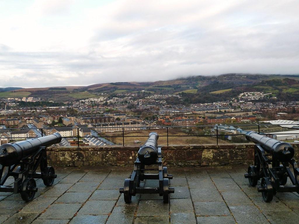 Cannon defences at Dumbarton Castle, Scotland.