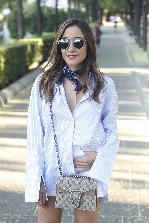boyfriend striped shirt gucci bag so real dior sunnies denim shorts summer outfit10