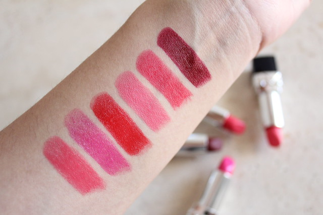 Rouge Dior lipsticks in Actrice, Miss, Red Smile, Pretty Matte, Radiant Matte, and Ambitious Matte review for fall 2016