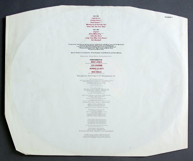 "FOREIGNER RECORDS DIE-CUT COVER 12"" LP VINYL"