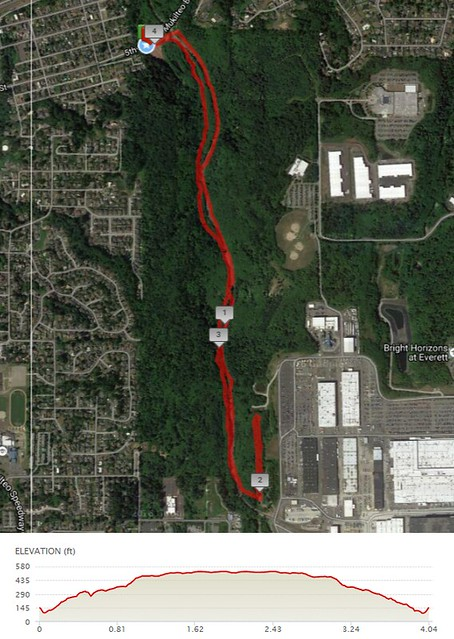 Today's awesome walk, 4.04 miles in 1:29, 9,401 steps, 395ft gain