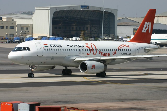 "VT-EYF Airbus A.320 Indian Airlines with ""50 Years Of Flying"" Titles"