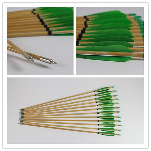green feathered wooden arrows