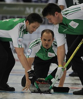 Edmonton Ab.Mar2,2013.Tim Hortons Brier.Saskatchewan third Braedon Moskowy,second Chris Schille,lead DJ Kidby.CCA/michael burns photo | by seasonofchampions