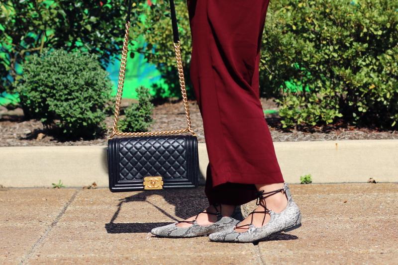 laceup-flats-burgundy-culottes-chanel-bag-4