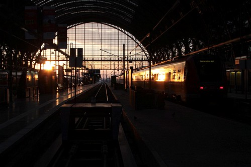 Setting sun at the station