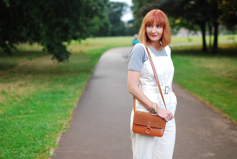 How to style white dungarees in the summer: Grey marl t-shirt, white shoes, tan crossbody bag (great for redheads) | Not Dressed As Lamb