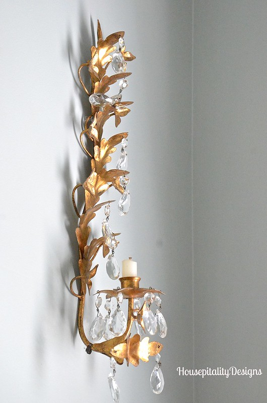 Vintage Italian Gold and Crystal Sconce - Housepitality Designs