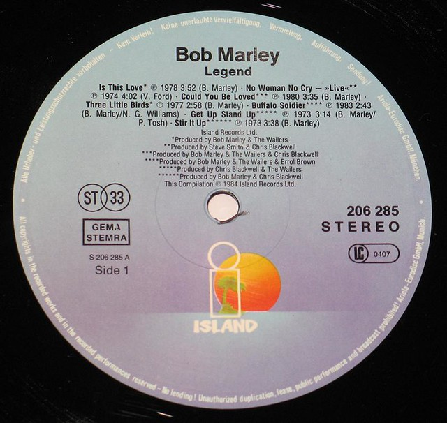 "BOB MARLEY LEGEND BEST OF BOB MARLEY AND THE WAILERS eec 12"" vinyl LP"