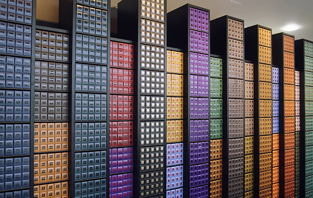 Nespresso pop-up boutique Grand Cru rainbow wall