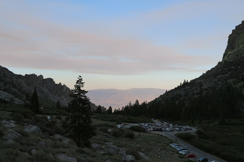 Looking back at the Onion Valley Trailhead Parking Lot as we begin hiking uphill