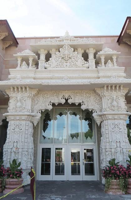 Front entrance. A Hindu place of worship.September 2016  Swaminarayan Akshardham Mandir in Robbinsville, NJ;  BAPS.org/Robbinsville IMG_0264