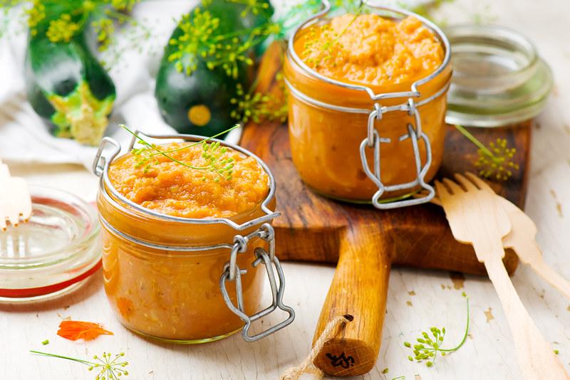 marrow paste  in a glass jar.