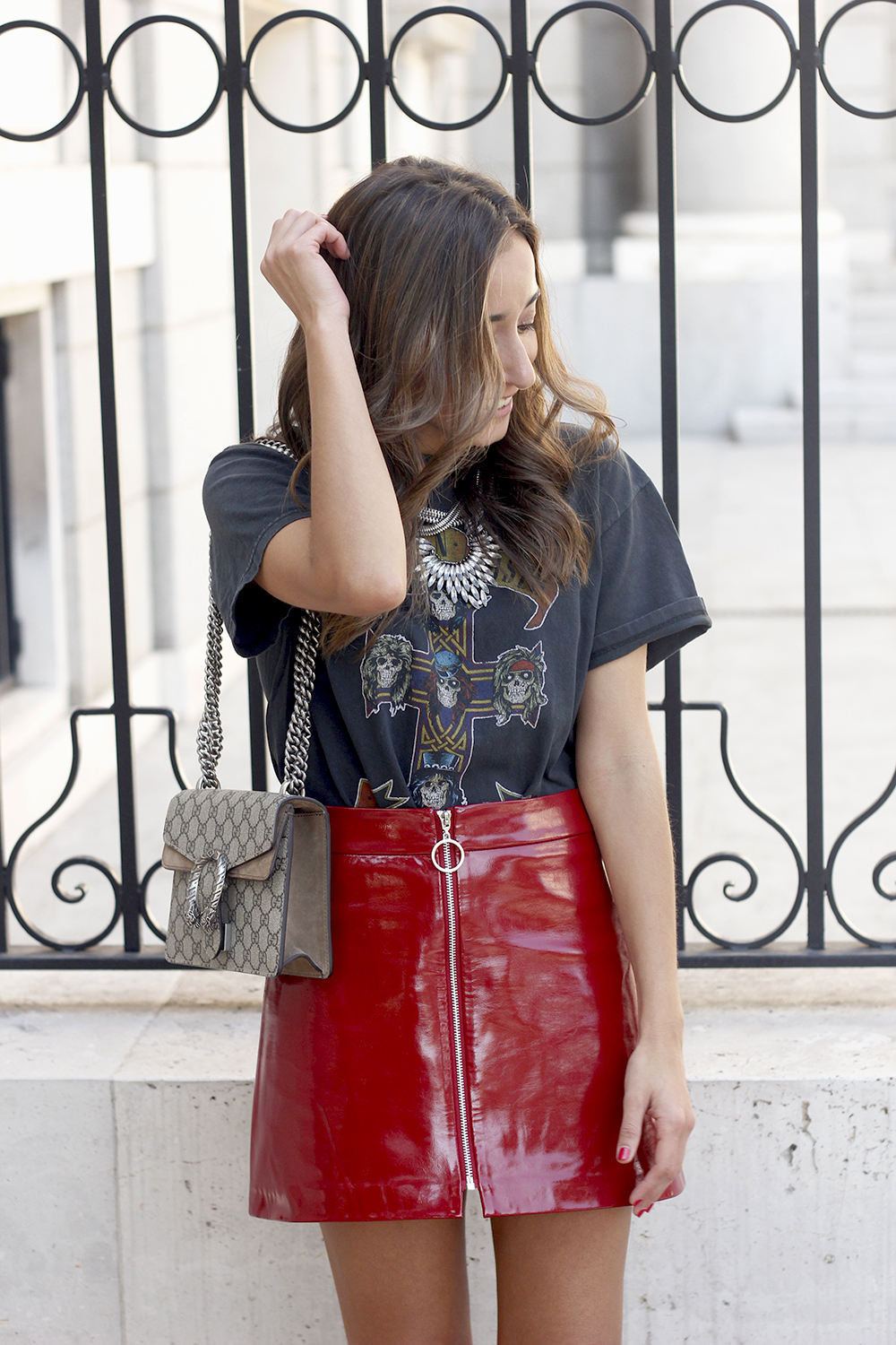 patent leather skirt guns and roses shirt leather jacket heels fashion outfit style18