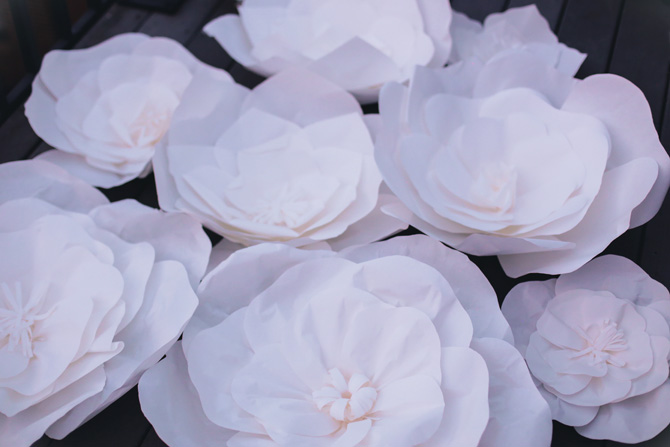 DIY large paper flowers party decor